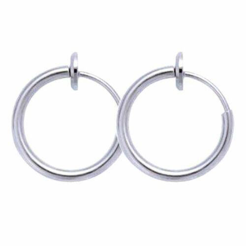 2Pcs Men Women Hip-hop Style Hoop Earrings Retractable No Need Piercing Earrings
