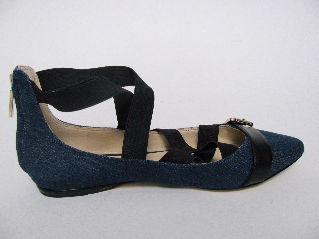 NINE WEST BLUE JEAN DENIM POINTED TOE SEXY STRAPPY LADIES BALLET FLATS Schuhe8