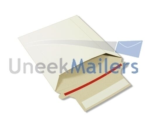 100 6x6 Rigid CD/DVD 6x6 Photo White Cardboard Envelope Mailers Stay Flat 350GSM