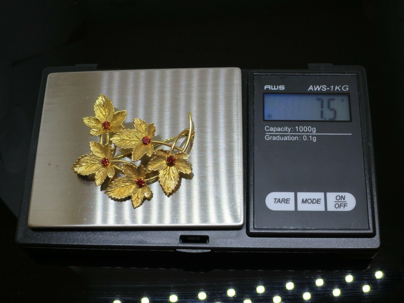 Vintage 0.5CTW Garnet 9K Yellow Gold Brooch Pin, … - image 10