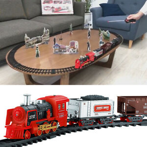 Electric-Track-Train-Toy-Set-Steam-Train-With-Smoke-Lights-Sounds-Kid-039-s-Gift-UK