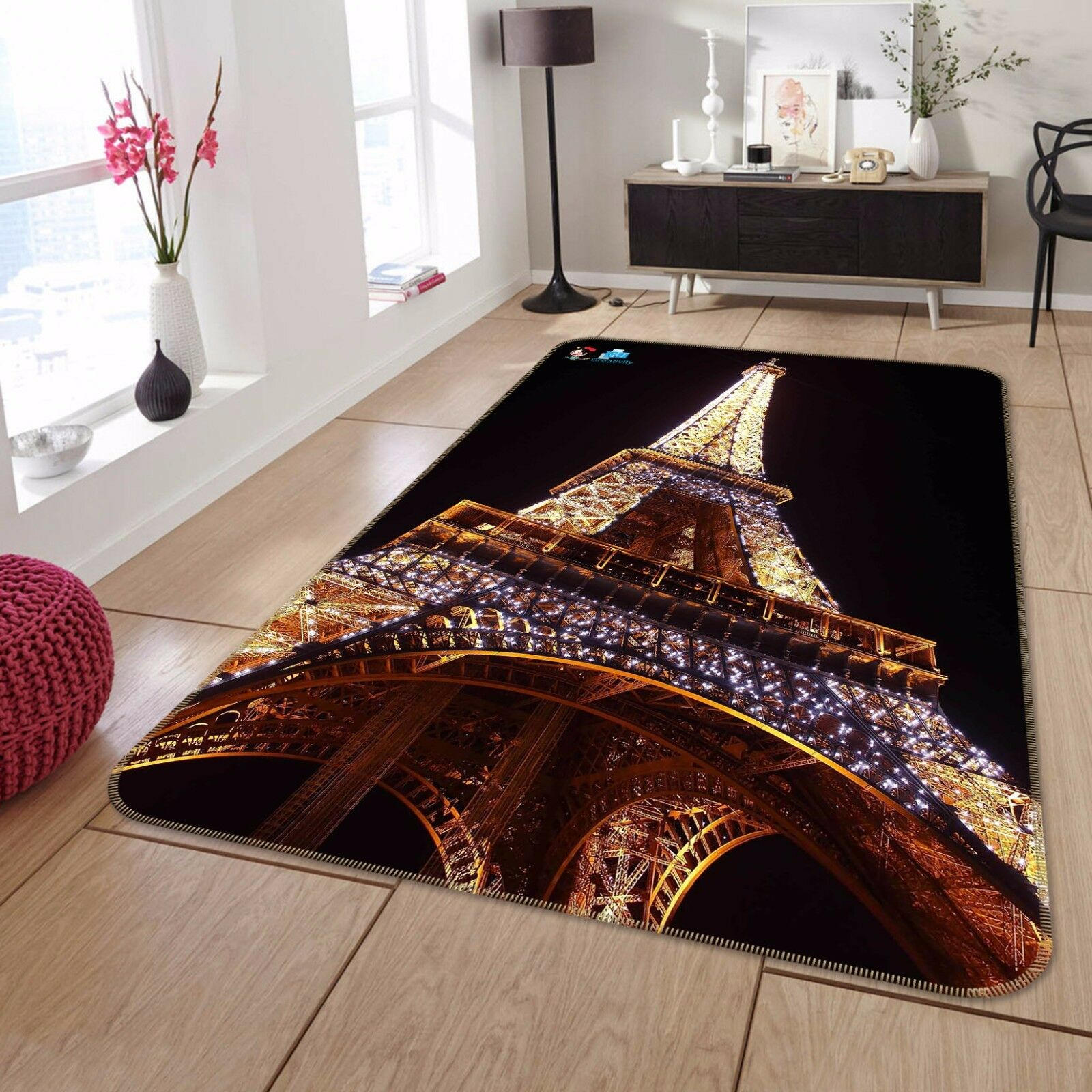 3D Night Eiffel Tower 83 Non Slip Rug Mat Room Mat Round Elegant Photo Carpet CA