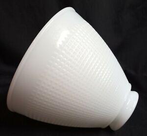 Vintage-Corning-820090-Milk-Glass-Waffle-Pattern-Torchiere-Light-Shade-5-034-Tall