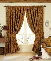 Luxurious Red Gold Tapestry Chenille 90 X 90 Pencil Pleat Thick Curtains