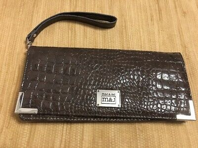 Womens Brown Faux Reptile Leather ID Credit Debit Card Holder Wallet  Gift NWT