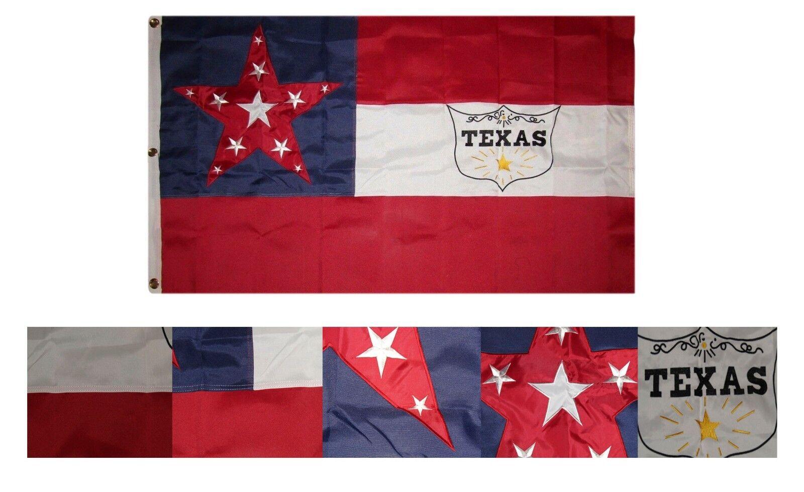 3x5 Bordado 6 Texas Caballería 600D Nailon Premium Calidad Flag 0.9mx5 ' 3 Clips