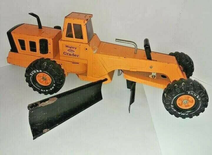 1970's Tonka Orange Mighty Grader Steel Pressed Toy Vehicle Large 25 in