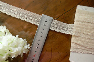 Vintage-COTTON-Lace-CREAM-26mm-wide-2-3-Metre-Length-Made-in-England-Flt6