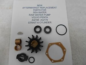 s l300 new aftermarket volvo penta raw water sea water pump kit aq165 & 170