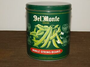 VINTAGE-KITCHEN-FOOD-7-034-HIGH-DEL-MONTE-STRING-BEANS-TIN-CAN-EMPTY