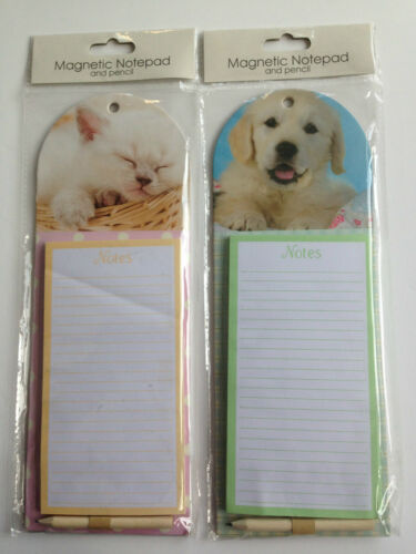 Kitchen Fridge Magnetic Memo Shopping Pad Pencil Dog or Cat