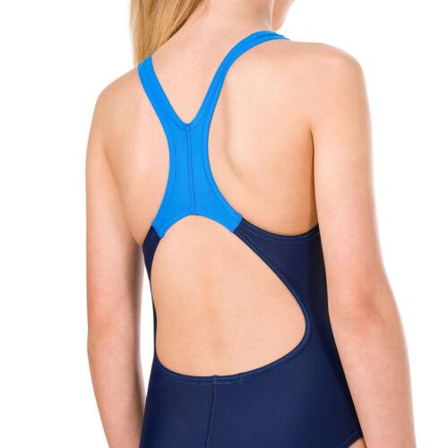 Speedo Placement Digital Splashback Girls Swimsuit Navy//Aqua Splash