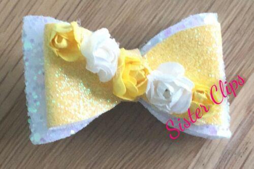"Girls Handmade pretty yellow white glitter flower 2/"" Hair bow clip"