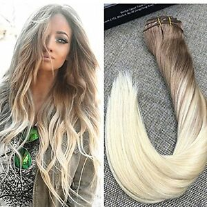 Balayage Ombre Medium Brown Platinum Blonde Clip In Remy