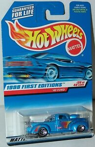 Hot-Wheels-1998-First-Editions-20-40-40-Ford-Truck-654-Silver-Blue-Variation