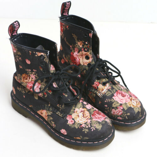 Doc Martin Floral Canvas Boots Size 6 Preowned