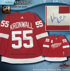 premium selection 0c316 0cd29 Details about NIKLAS KRONWALL Signed Detroit Red Wings Home Adidas PRO  Jersey