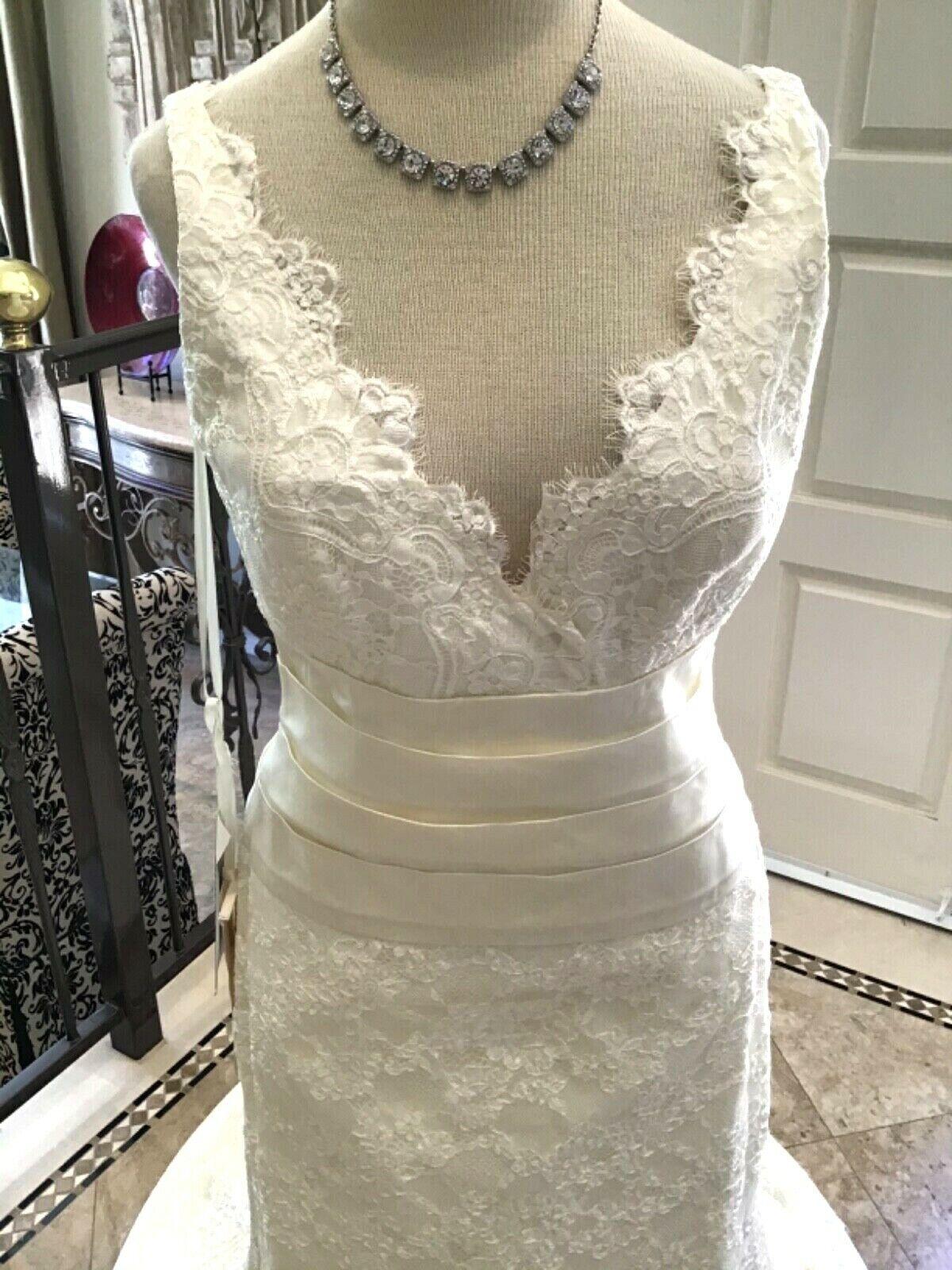 TARA KEELY Lazaro Bridal gown Wedding Dress sheath ALL LACE Cream 12 NEW