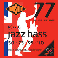 ROTOSOUND RS77LE MONEL FLATWOUND BASS STRINGS, HEAVY GAUGE 4's - 50-110