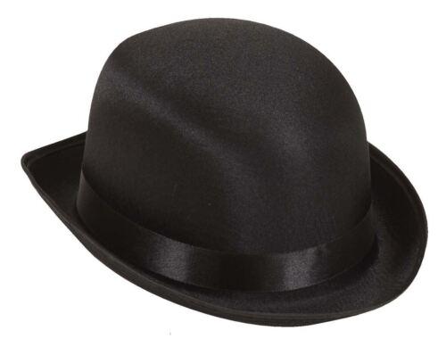 Black Velour Bowler Hat Plain Womans Fashion Vouge Vintage Derby Cap Hen Party