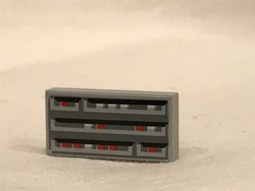 LEGO Parts~ 2 Tile 1 x 2 with SW Computer Pattern 3069bps1 LT BL GRAY