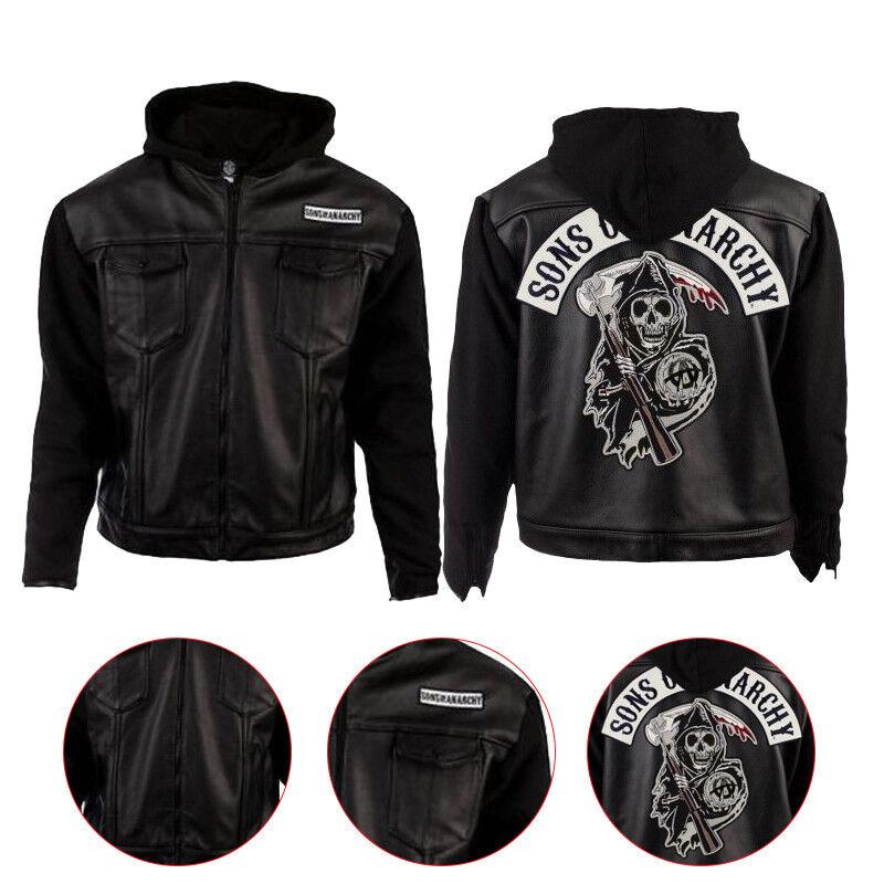 Homme SOA élégant Sons of en Anarchy Sweat à capuche en of cuir véritable/cuir synthétique Veste 09e8c6