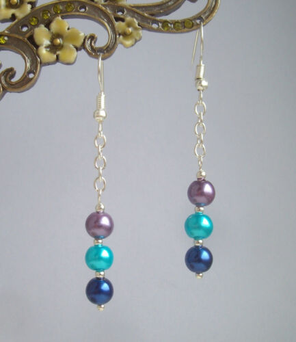 Pretty Royal Blue Teal and Purple Glass Pearl Dangly Drop Earrings