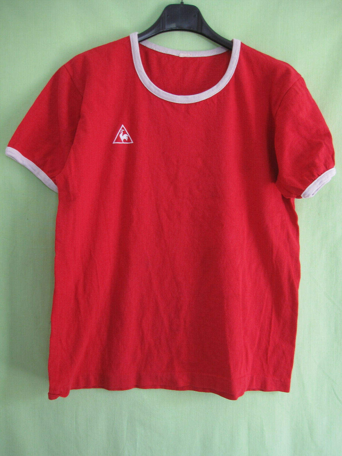 Maillot Le Coq Sportif Vintage red 70'S Coton Nimes Olympique Shirt - M