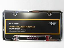 oem mini cooper license plate frame cooper s polished steel 82120307592 - Mini Cooper License Plate Frame