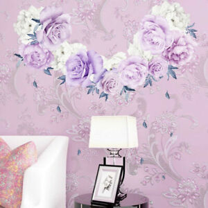 Large Purple Peony Rose Flowers Blossom Wall Stickers Kid Home Nursery Decor Art