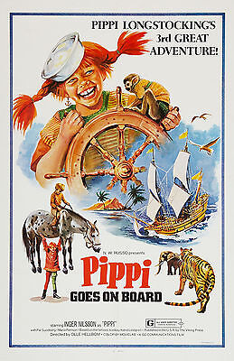 """PIPPI GOES ON BOARD"" Pippi Longstocking .1971 Family Movie Poster A1A2A3A4Sizes"