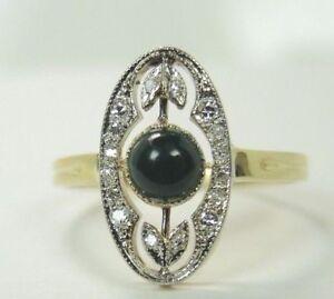 Antique-Deco-Vintage-Bloodstone-18K-Yellow-Gold-Platinum-Ring-Size-7-5-UK-O1-2