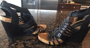 1d19432825 Image is loading BCBG-Generation-Black-Leather-Strappy-Wedge-Sandals-Heels-