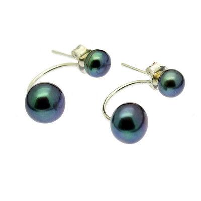 Black Double Pearl Stud Earrings Solid Sterling Silver Jacket Freshwater Pearls