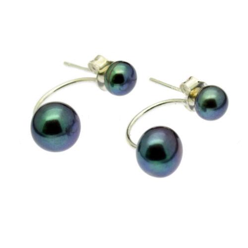 Black Double Pearl Stud Earrings Sterling Silver Jacket Freshwater Pearls