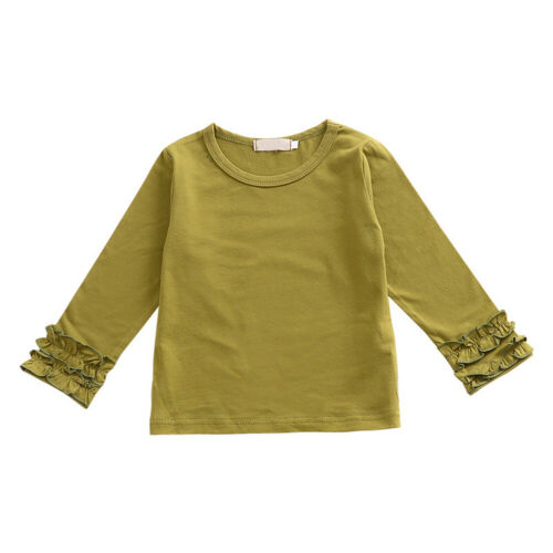 Kid Baby Girls Solid Icing Ruffle Long Sleeve T-shirt Boutique Tops Blouse Tee