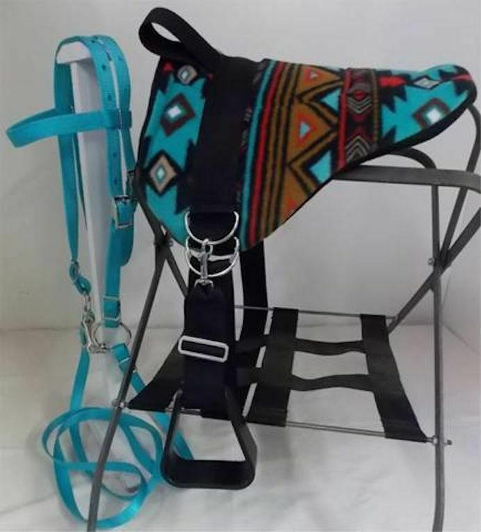 MINIATURE cavallo  SM PONY BAREBACK SADDLE PAD SET  TURQUOISE BLK INDIAN NATIVE