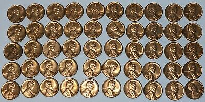1981 US Lincoln Pennies 1c Roll OBW 50 Coins Total Brilliant Uncirculated