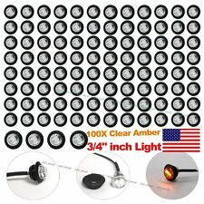 "100X 3/4"" Clear Amber LED Clerance Marker Bullet Lights Lamps Truck Trailer Bus"