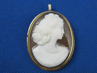 VINTAGE 14K YELLOW GOLD CAMEO SHELL VICTORIAN WOMEN PENDANT BROOCH