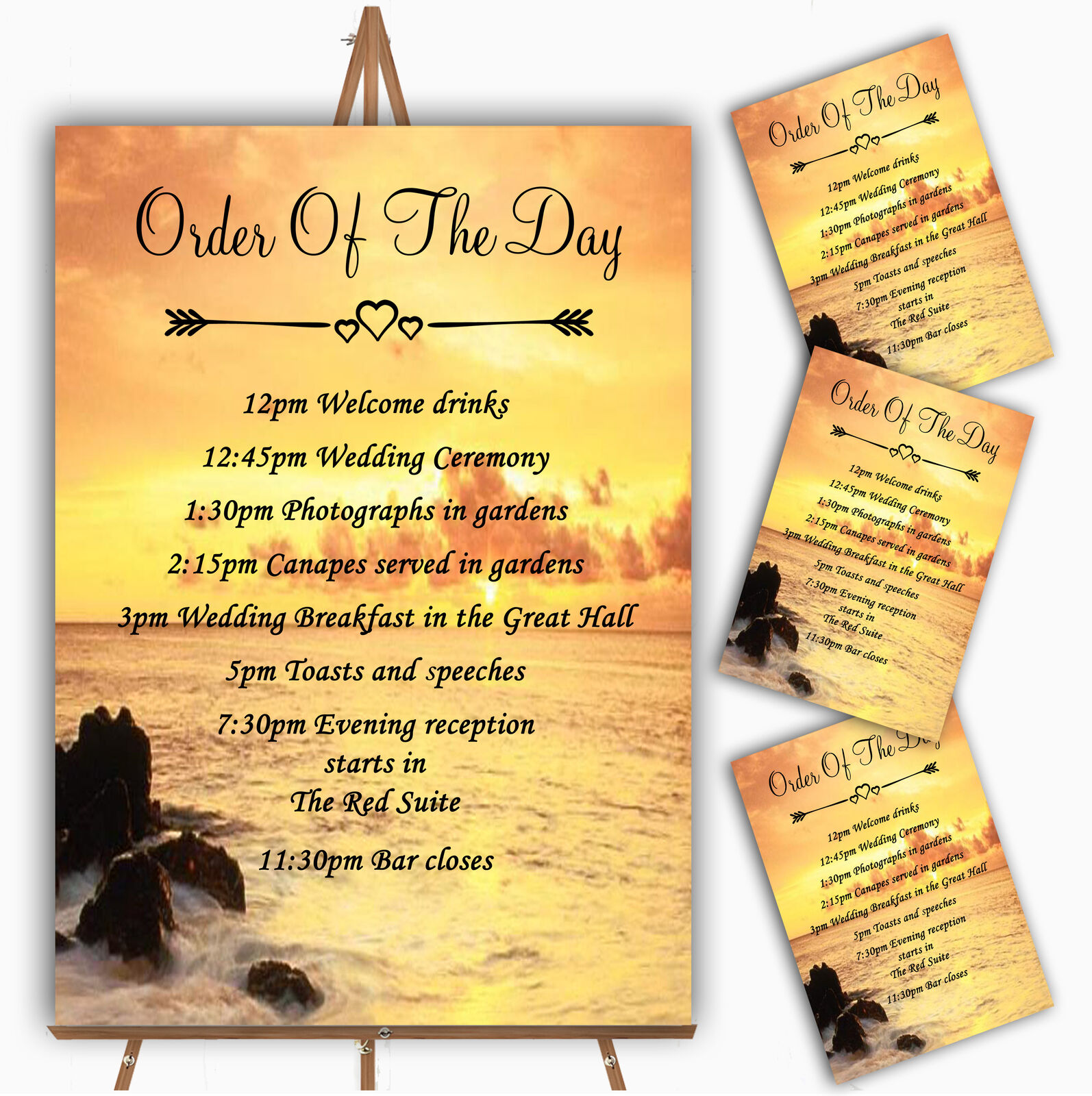 Beautiful Sunset Beach Abroad Personalised Wedding Order Of The Day Cards