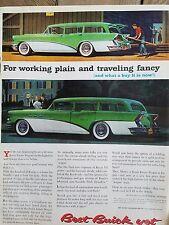 1956 Green White  Buick Estate Special Station Wagon Car original Ad