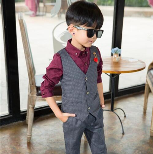 2pcs Kids Baby Boys Gentleman Suit For Wedding Vest+Pants Fashion Party Outfits