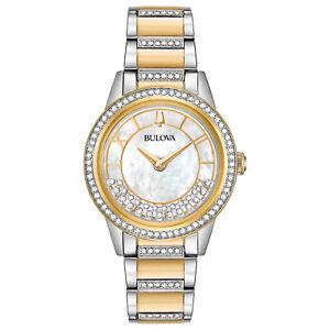 Bulova Women's Quartz Swarovski Crystal Accent Two-Tone 32mm Watch 98L245