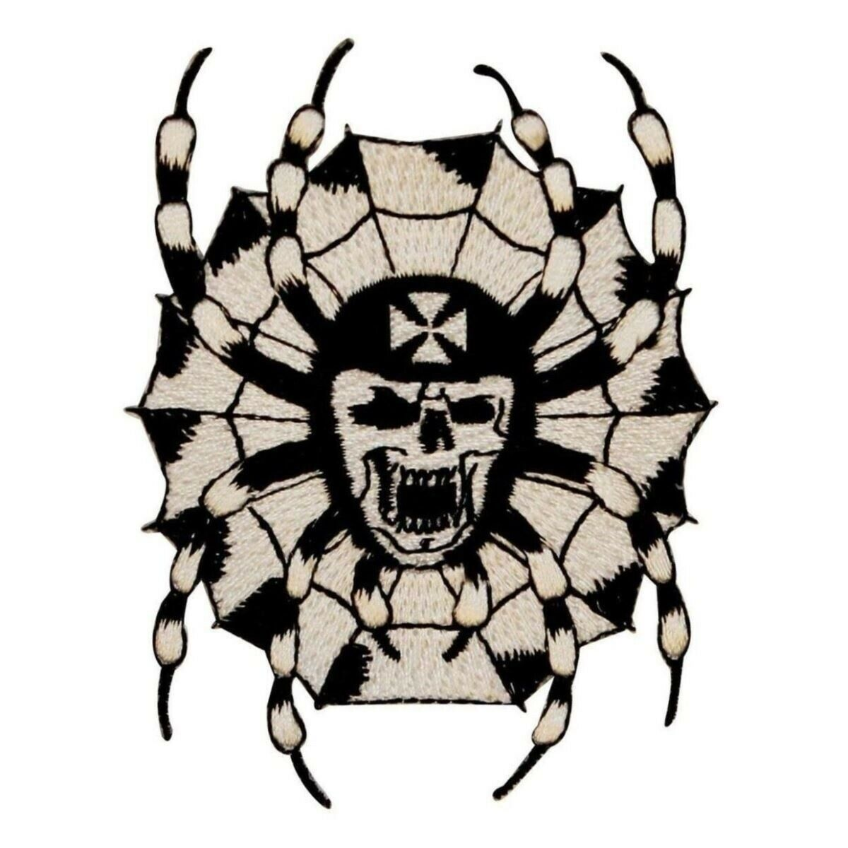 SPIDER WEB IRON ON PATCH  Outlaw Biker Punk Rocker NEW Embroidered