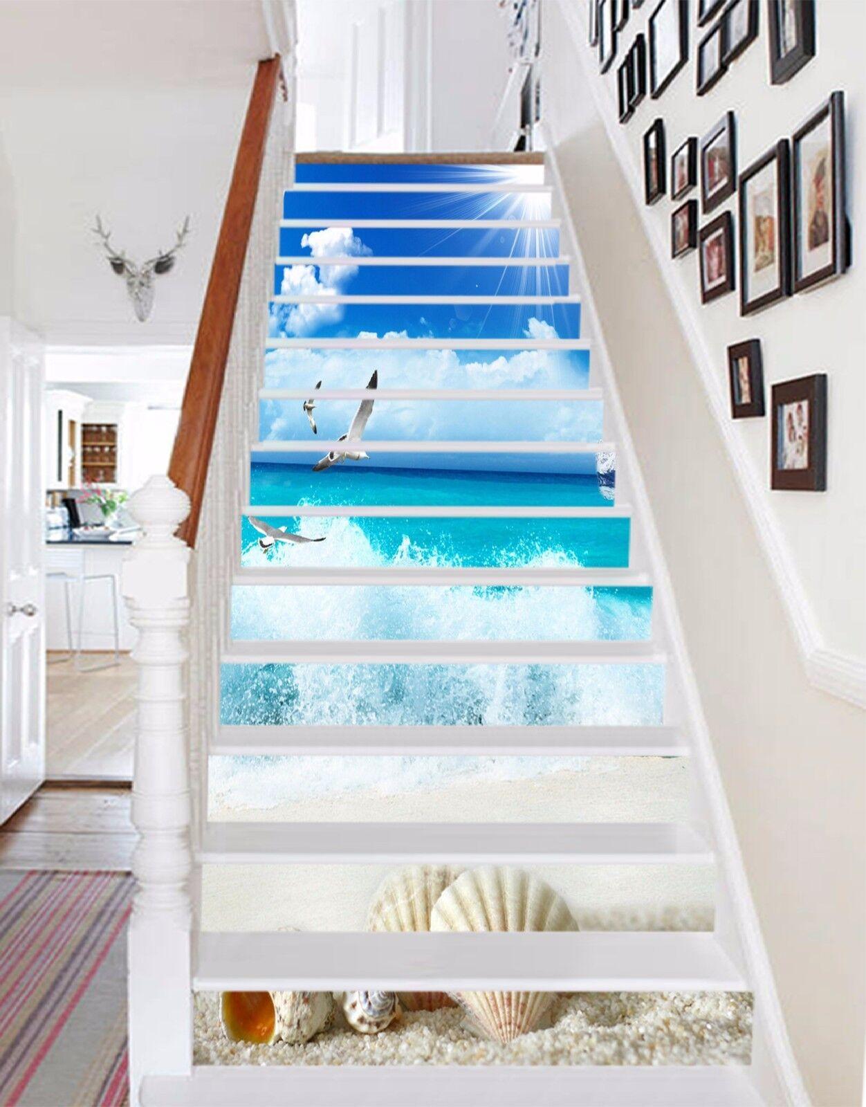 3D Beach Sky 606 Stair Risers Decoration Photo Mural Vinyl Decal Wallpaper UK