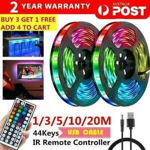 Rgb Led Strip Lights Ip33 3528 1 2 5 10 20m 400 Leds 12v 44 Key Ir Controller Ebay