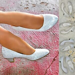 Womens-Low-Block-Heel-Floral-Lace-Wedding-Shoes-Bridal-Pumps-White-Ivory-Size