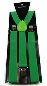 MENS-GREEN-SUSPENDERS-BRACES-ELASTIC-ADJUSTABLE-FORMAL-WEDDING-MEN-039-S-WOMENS-85cm