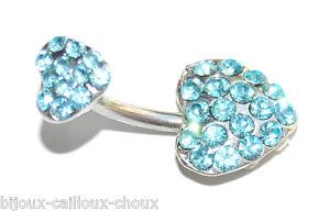 Piercing De Nombril Acier Chirurgical Double Coeur Cristal Bleu Longue DuréE De Vie